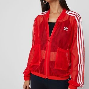 Adidas Red Mesh Track Jacket Zip Up